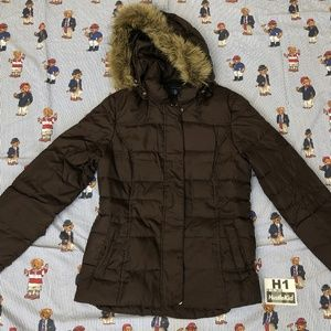 Tommy Hilfiger Quilted Parka Brown Hooded Jacket S